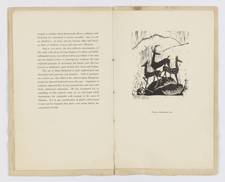 Left, page layout for text; Right, commercial relief process after linoleum cut print by William Hunt Diederich. The print depicts a stag on top of a mountain in the center surrounded by deer.