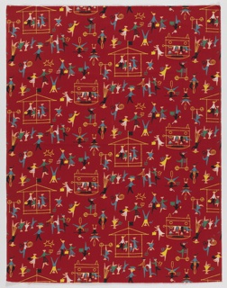 "Yard goods; a Signature Fabric, ""School Days"" designed by Howard Low of Associated American Artists, 1954."