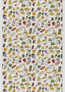 "Yard goods; woven cotton ""Calory Chart"" print in off-white, grey, shades of green, gold, red, dark brown, and lavender, with black outlines, details, and numerals; Louise Phillips for Associated American Artists, 1952."
