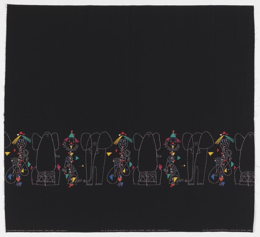 "Yard goods; a Signature Fabric, ""Jumbo Junket"" designed by Hans Moller of Associated American Artists, 1954."