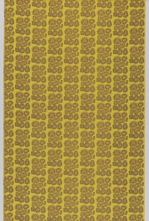 "Yard goods; a Signature Fabric, ""Gay Facade"" designed by John Hull of Associated American Artists, 1953-1956. Dark yellow fabric with vertical columns of rounded geometric shapes in neat clusters, each with a zigzag border and filled with a smiling face. Each face is filled with red and orange polka dots."