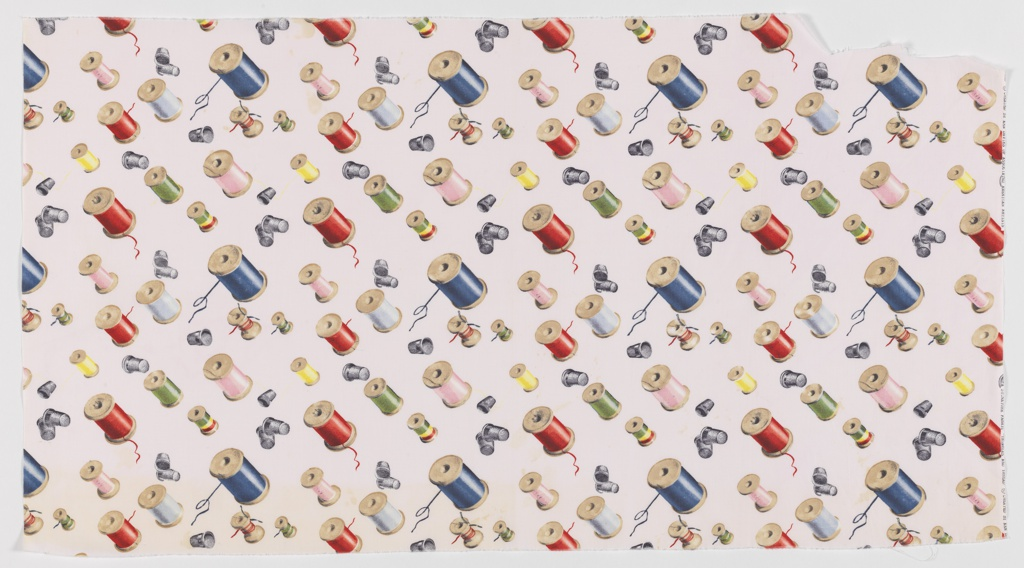 "Yard goods; a Signature Fabric, ""Thimbles and Thread"" designed by Ken Davies of Associated American Artists, mid-late 1950s."