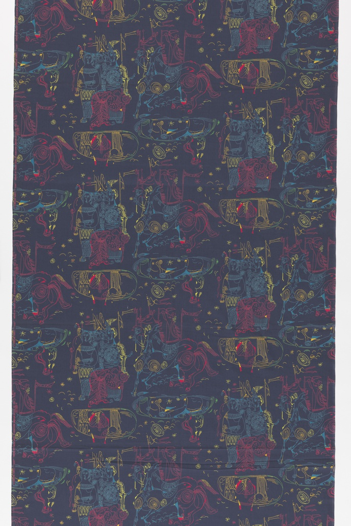 "Yard goods; a Signature Fabric, ""Iliad"" designed by Vincent Malta of Associated American Artists, 1953."