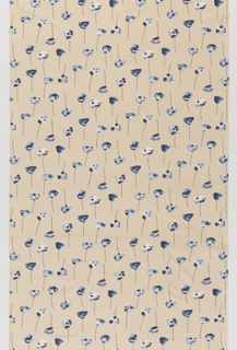 "Yard goods; a Signature Fabric, ""Gentle Poppies"" designed by Gandy Brodie of Associated American Artists, 1954."