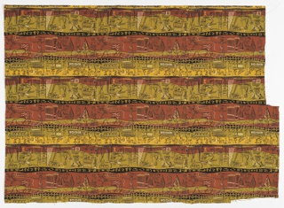 "Yard goods; a Signature Fabric, ""Egyptienne"" designed by Lamartine Le Goullon of Associated American Artists, 1954."