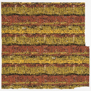 """Yard goods; a Signature Fabric, """"Egyptienne"""" designed by Lamartine Le Goullon of Associated American Artists, 1954."""
