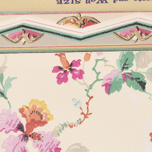 Contains sidewall papers and their coordinating borders. Also contains a series of photographs showing room settings featuring the wallpaper samples.