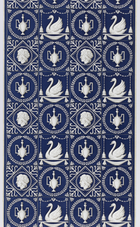 Empire-style tile design. Motifs include an urn within a wreath, swan under beading and tassels, and a bust within a square framework. Produced by Venilia, France. Printed in white and gray on a deep blue ground.