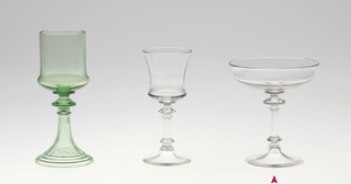 """Mouth-blown crystal champagne glass, cut and polished in the """"Greek"""" style."""