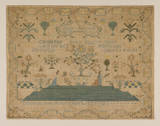 Sampler embroidered in blues, greens and yellows on a loosely woven natural linen ground. In the center, a large urn of flowers rests on a grassy mound, with a female figure standing on either side. Spot motifs of birds, baskets of fruit, and flowering trees fill the field. The inscription is framed in a vine at the top, followed by a verse: Could I by bearing Mary's name like her be wise in heart  All worldly cares would disclaim and choose her better part