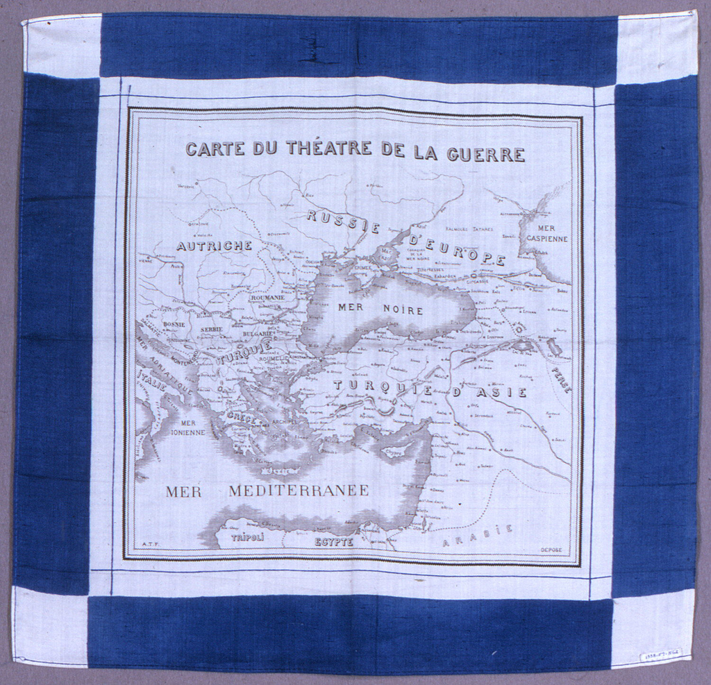 Silk handkerchief showing a map of Asia Minor and the Eastern Mediterranean in black on a white field, with a blue border. The title, translated as Map of the Theater of War, probably refers to the Russo-Turkish War.