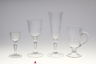 Mouth-blown crystal wine glass, facet-cut and polished (without engraving).