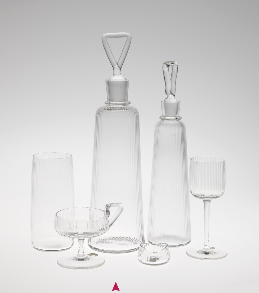 Mouth-blown, pre-molded crystal decanter with stopper.