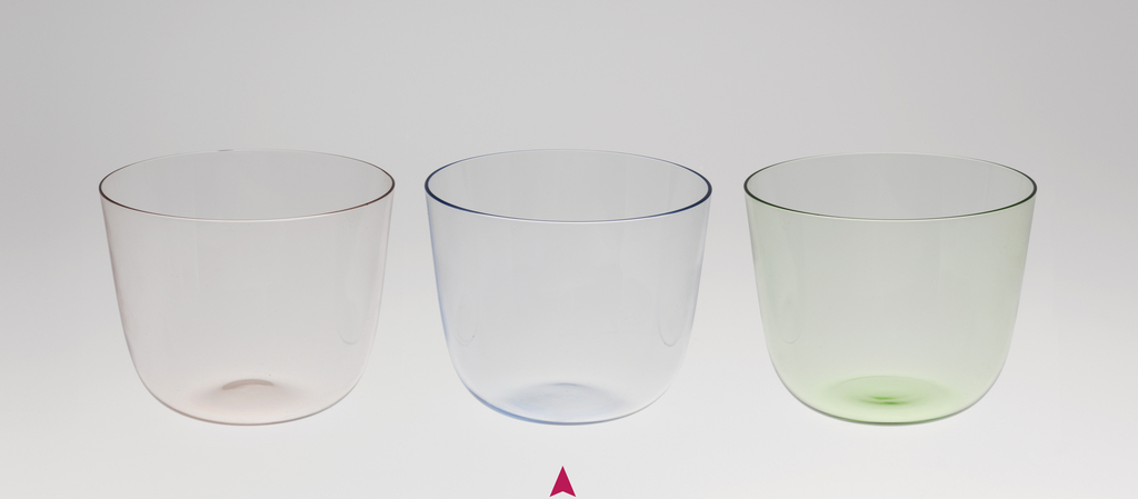 Thin mouth-blown crystal, pale blue color water tumbler.