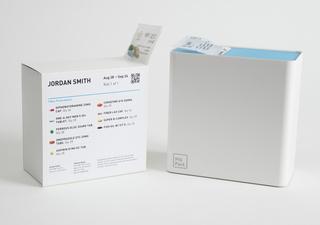 Premium dispenser gift box, roll of pills, refill bag, disposable dispenser
