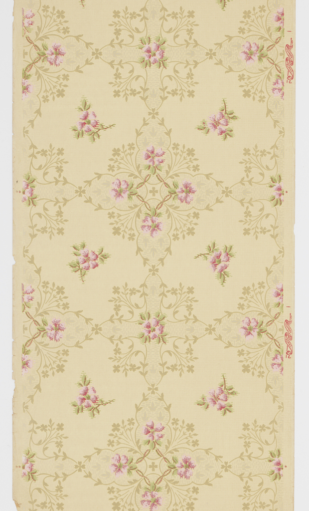"Connected large and medium square floral medallions with five-petal pink flower motif and foliate vining. Light-yellow ground with dotted background. Printed in pinks, greens, beige and light grey. Printed in selvedge: ""Standard Papers""."
