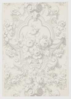 "Design is a drop repeat of a large bouquet of roses enclosed in a medallion with a border simulating molding. At the top and sides of motif are Rococo scrolls. Portions of background between scrolls are emphasized with fine horizontal broken lines. A reproduction of old French wallpaper. Printed inmargin: ""Strahan - Made in U.S.A."" Printed in grisaille and green on off- white field."