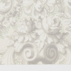 """Design is a drop repeat of a large bouquet of roses enclosed in a medallion with a border simulating molding. At the top and sides of motif are Rococo scrolls. Portions of background between scrolls are emphasized with fine horizontal broken lines. A reproduction of old French wallpaper. Printed inmargin: """"Strahan - Made in U.S.A."""" Printed in grisaille and green on off- white field."""