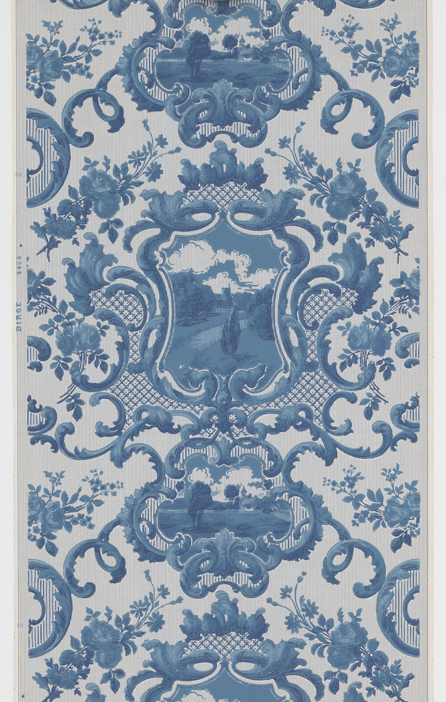 """Two alternating  landscape medallions enframed in symetric acanthus medallions. Trellis or fretwork and floral sprigs fill in the background. Printed in blue and white on a striped white ground. Printed in selvedge: """"Birge  4428"""".  NOTE: 1 duplicate in W131 (61:1:1)"""