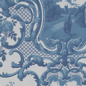 "Two alternating  landscape medallions enframed in symetric acanthus medallions. Trellis or fretwork and floral sprigs fill in the background. Printed in blue and white on a striped white ground. Printed in selvedge: ""Birge  4428"".  NOTE: 1 duplicate in W131 (61:1:1)"
