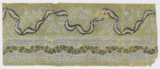 Wide upper band containing ribbon intertwined with vining foliage. Bottom band has lacy look - with central band of vining floral between two edge bands on vining foliage. Bands of beading above and below this bottom band. Printed in white, gray and black on green ground.