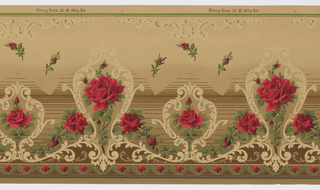 Single red rose with three buds in acanthus medallion alternates with single red rose and one bud in a smaller medallion. Small-scale stemmed roses appear randomly strewn in upper portion of frieze. Frieze background has a shaded effect, with top portion in tan while lower portion contains horizontal brown stripes. Stylized red floral motif in swagged band across bottom.