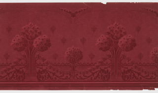 Tall group of three flower clusters, each resembling a ball, alternating with a shorter single cluster of flowers, also shaped like a ball. Floral swags connect the motifs. Printed in reds on deep red imitation fabric background.