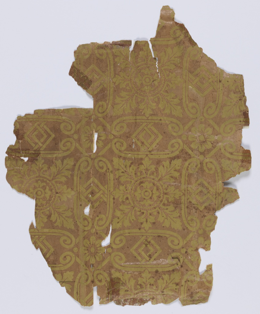 Square acanthus medallion enclosed within scrolling framework. Design printed in yellow over mica ground.