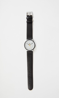 Analog wrist watch with three hand movement. White face and black leather band.