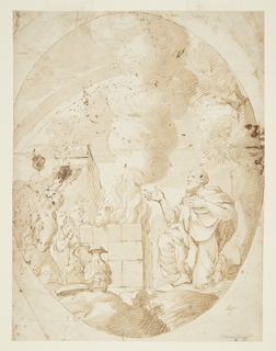 Depiction of the Sacrifice of Noah. At right, figure of Noah is kneeling at the foot of a brick altar.  His sacrifice of a ram is shown on the altar amongst the fire, while a cloud of smoke rises from it.  At left, a crowd looks on. Vase with handle in the foreground, perhaps for pouring libations. Drawing contained within ovoid.