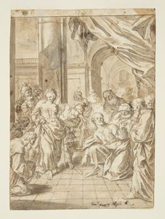 The woman, soldiers, and two disciples at left, Christ with others at right.  He points at the words He has written.  The woman rather undisturbed.