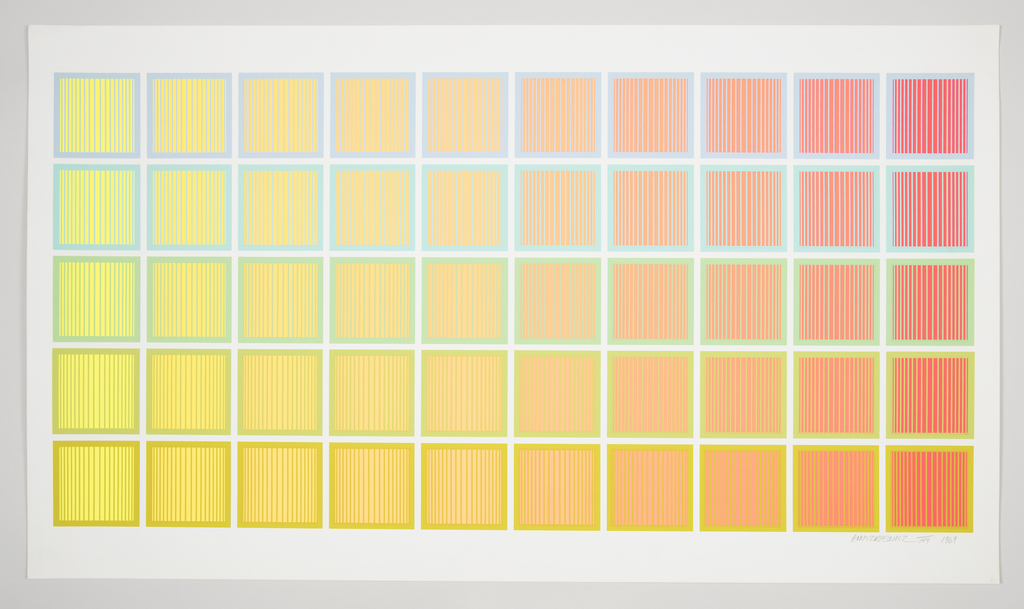 Horizontal rectangle. Fifty colorful squares arranged in a grid 5 squares high by 10 squares wide, shifting from yellow as the primary color filling the squares at left to red as the primary color at right. Each square filled with thin vertical lines in a contrasting color (yellow, green, blue, purple) and bordered in that same color.