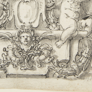 Half-length portrait of a man in armor, sketched within an oval frame.  Decoration of the surrounding verical panel includes trophy of arms, two putti, masks at top and bottom, and a build escutcheon sumounted by a crown.