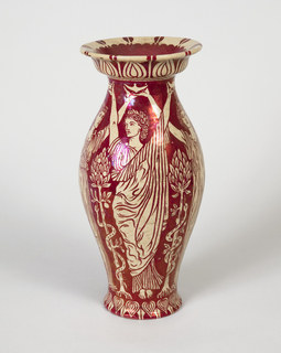Red lustre decoration on ivory ground, showing classical female figures.