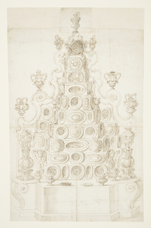 Vertical format drawing showing a furniture design for a large ten-tiered buffet for silver with various pieces in place.