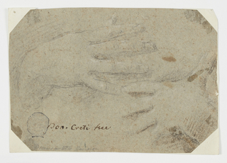 """Horizontal composition of two lightly sketched hands framed by an octagonal piece of paper. The corners of the original rectangle have been cut away. In front, written by A. Maggiori (therefore trustworthy): """"Don. Creti fece."""" On the back, """"Ales. Maggiori compro in Bologna nel 1787."""" Maggiori erased what appears to be a signature from a former owner: """"P.H. Secani (?), 1785."""""""