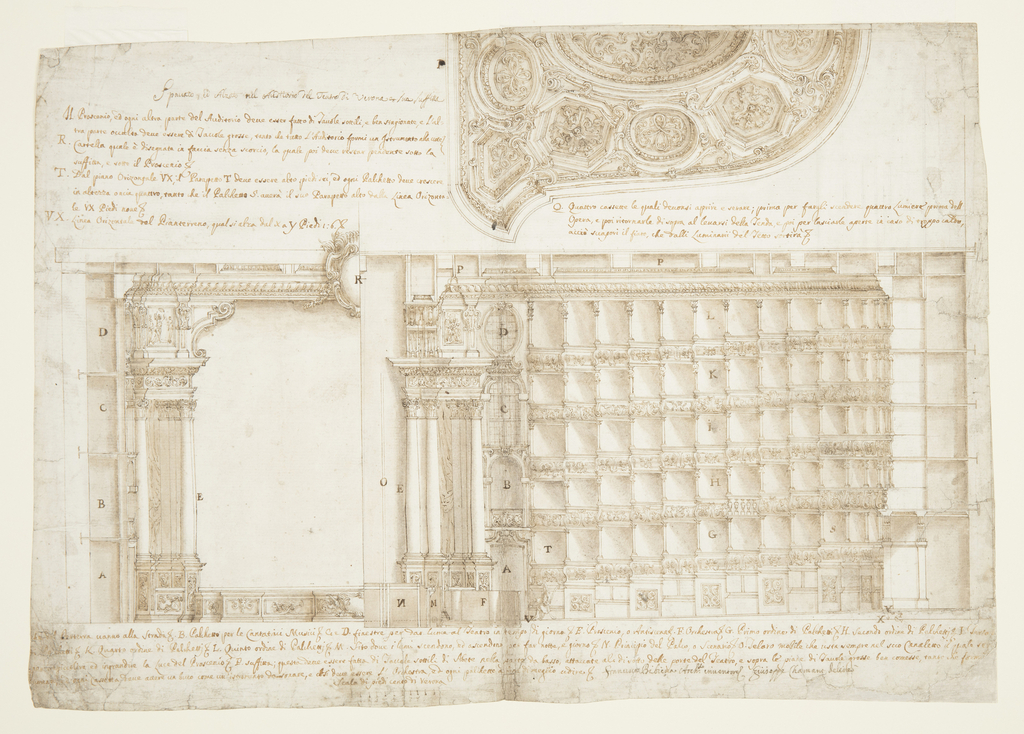 Drawing, Teatro Filarmonico, Accademia Filarmonica, Verona, Italy:  Section and Ceiling