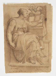 Vertical rectangle showing seated female figure with book.