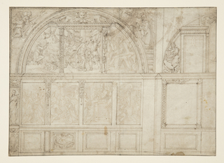 Design for a chapel wall topped with an arch, filled with sculptural projects at top and sides and painted panels between. Within the arch, a triptych of panels depicting figural scenes from the Bible, possibly all relating to the Crucifixion and death of Christ. At left, an angel brings an object to a man who waits with outstretched arms. At center, a man's arms are bound around a pole while he is beaten. At right, Christ falls while carrying the Crucifix. Below the arch, four rectangular panels with additional figural scenes, possibly representing the Resurrection.