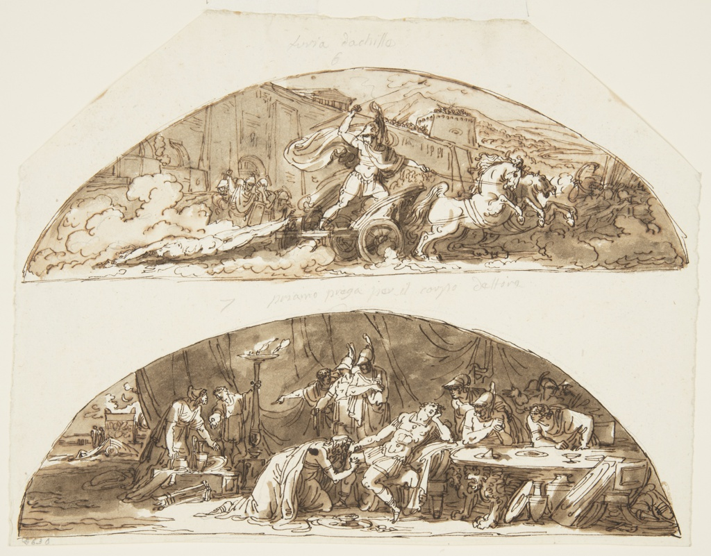 Drawing, Achilles Drags the Body of Hector around Walls of Troy, Priam Pleads for the Body of Hector, Ceiling Designs for the Galleria di Achille, Palazzo Milzetti, Faenza, Italy