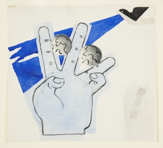 Study for a motif with an open left hand at center, balancing a small globe between the pointer and middle finger, and a second small globe balanced between the middle finger and the fourth finger. The pinky finger and thumb of the hand are bent inwards towards the palm. The hand is rendered in black outline and shaded in light blue. The globes are shaded in gray with continents roughly depicted in black outline. At upper right corner, an abstracted black bird flying to the left from which extends a blue beam pointing back down to the hand.