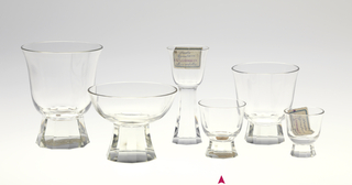 Mouth-blown crystal, bell-shaped sherry glass, facet-cut and polished base.