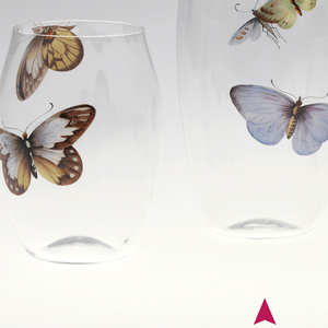 Mouth-blown crystal beer tumbler with painted butterfly.