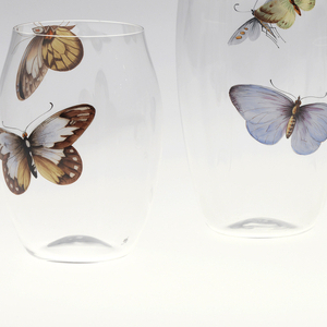 Mouth-blown ballon crystal tumbler with painted butterfly.