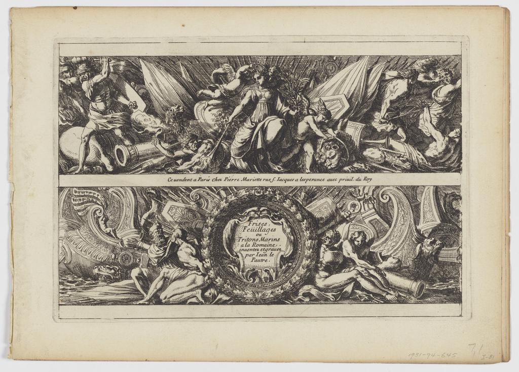 """Print, Title Page from """"Frises, feuillages ou tritons marins, à la romaine"""""""