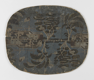 Two strips of paper have been joined together, so that the bottom edges are face to face. Scene is a view of Castle Garden.