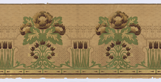 Stylized late art nouveau, cluster of three stylized tupils, upright, alternate with peony-like flowers arranged symmetrically on leafy stems with stylized buds near base, with fill pattern of brown dashes.