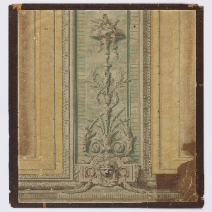 Vertical strip mounted in three separate sections. Approximation to Louis XVI style. Pilaster in blue and gray, with arabesques and a pink medallion in simulated relief, and portions of flanking panels in neutral yellow.