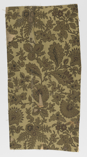 Aesthetic-style design, imitating textile. Many small pieces of same wallpaper design, most lined on fabric.