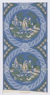 A full width, giving slightly more than two repeats. Vignetted scene in circular framework of twisted foliage, showing woman on horse talking with standing man; house, trees and rider in background. Printed on blue ground. Distemper colors on blue ground